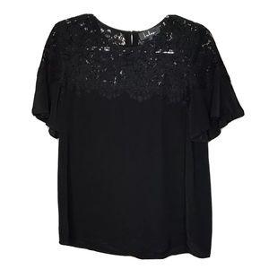Lulus Black Lace Top Short Sleeve Lg Black 0497